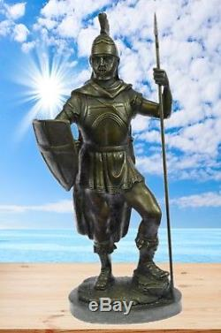 16X9 Bronze Sculpture Statue Hand Crafted Roman Warrior With Sword And Spear Marb