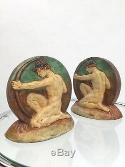 1920s Mary Watts Compton Pottery archer bookends ceramic Arts and Crafts antique