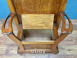1920s Oak Hall Seat, Arts and Crafts (100780)
