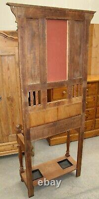 1930s Arts and Craft Oak Hallstand with Metal Decoration Inset