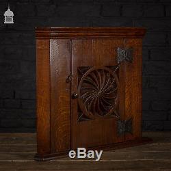 19th C Arts and Crafts Carved Oak Corner Cupboard