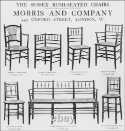 2 Liberty & Co, arts and crafts rush seated Argyll Chairs c1880