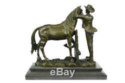 28x30 cm Bronze Sculpture Statue Hand Crafted Signed Original Cowboy And His Tru