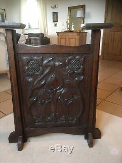 A Super Carved Arts And Crafts Oak Firescreen