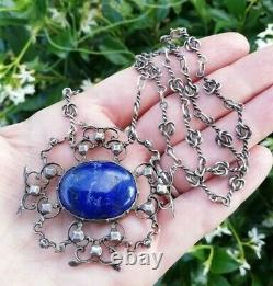 AMY SANDHEIM att 1920 Arts and Crafts silver lapis necklace, knots chain lovely