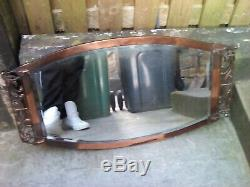 ANTIQUE ARTS AND CRAFTS/ART NOUVEAU COPPER BEVELLED MIRROR country house piece