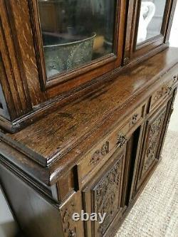 ANTIQUE LARGE OAK ANTIQUE ARTS AND CRAFTS BOOKCASE House keepers cupboard