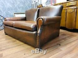 ANTIQUE LEATHER ARTS AND CRAFTS C1890 SOFA One of a kind handcrafted
