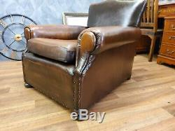ANTIQUE LEATHER ARTS AND CRAFTS C1890 SOFA One of a kind handcrafted armchair &