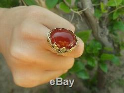 ANTIQUE NOUVEAU ART and CRAFTS NATURAL CARNELIAN 14k GOLD HANDMADE RING SIZE 8