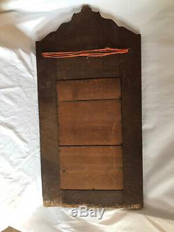 ARTS AND CRAFTS OAK Carved Mirror With Bevelled Glass