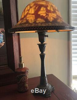 ARTS and CRAFT REVERSE GLASS TABLE LAMP 24 high x 14 wide Wine Gold Bronzed