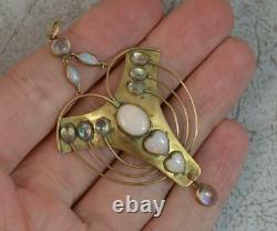 Amazing Arts and Crafts Moonstone and Opal 9ct Gold Pendant
