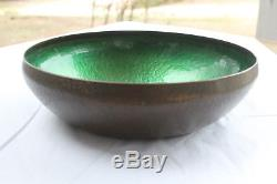 American Arts And Crafts Movement Hammered Copper Enamel Bowl Pairpoint C. 1910