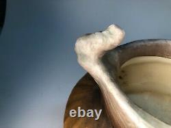 Amphora Austrian Art Nouveau Figural Bowl Old Arts and Crafts Pottery Vase