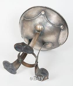 An Antique Arts and Crafts Planished Metal Chalice Centerpiece Bowl