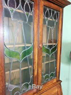 An Antique Early 20th Century Arts and Crafts Bureau Bookcase Delivery Availabl