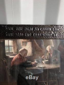 An original 1900 arts and crafts hammered copper framed print. Robert Burns