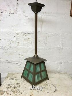 Antique 1910's Arts And Crafts Slag Glass Porch Foyer Hall Lantern Pendant Light