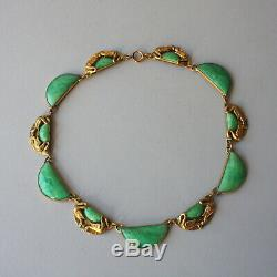 Antique 1910s Arts and Crafts Hammered Brass Swans and Green Glass Necklace Vtg