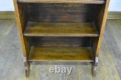 Antique ARTS AND CRAFTS carved oak open bookcase display shelving