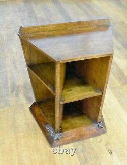Antique ARTS AND CRAFTS oak bookcase display shelving pedestal plant stand