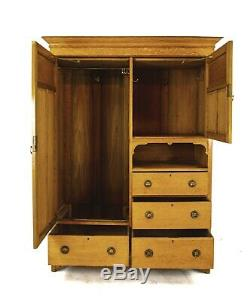 Antique Armoire, Wardrobe, Armoire Closet, Arts and Crafts, Scotland 1910, B1352