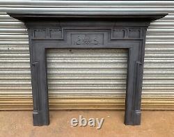 Antique Art Nouveau Arts and Crafts cast iron fire surround fireplace log burner