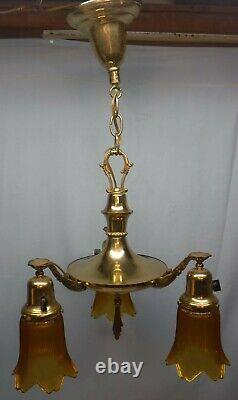 Antique Arts And Crafts Brass Pan 3 Light Fixture with Amber Glass Shades