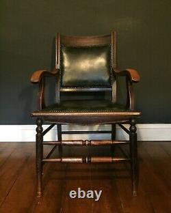 Antique Arts And Crafts Desk Chair Green Leather Upholstery Original Tacking
