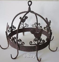 Antique Arts And Crafts Folk Art Chicken Rooster Hanging Kitchen Rack Sculpture