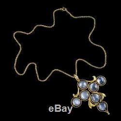 Antique Arts And Crafts Moonstone Cross Pendant Necklace 9ct Gold Circa 1900