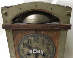 Antique Arts And Crafts Oak Cased Slag Glass Liberty Style Mantel Clock