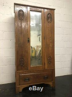 Antique Arts And Crafts Solid Oak Wardrobe Hall Cupboard