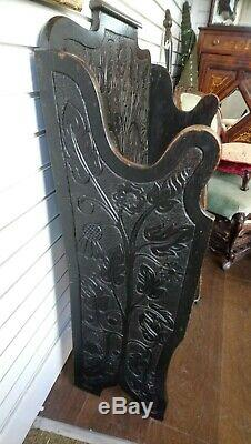 Antique Arts And Crafts Style Carved Oak Bench, Settle, Hall seat, Floral