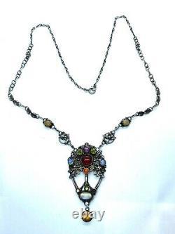 Antique Arts & Crafts Dorrie Nossiter Attrib. Sterling Silver & Gold Necklace