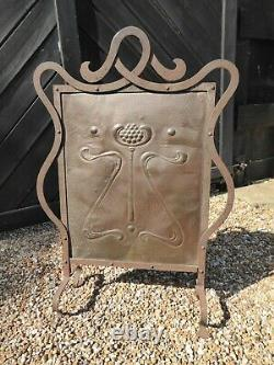 Antique Arts & Crafts Fire Guard Wrought Iron and Hammered Copper -Fire Screen