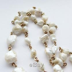 Antique Arts & Crafts Period 49 Baroque Pearl and 18ct Gold Necklace C. 1900