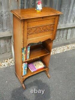 Antique Arts & Crafts bookcase with bureau, golden oak, delightful small piece