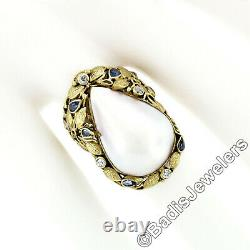 Antique Arts and Crafts 14k Gold Pear Mabe Pearl Diamond & Sapphire Vine Ring