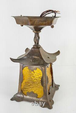Antique Arts and Crafts Art Nouveau Copper and Glass Light Fixture Mission