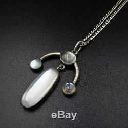 Antique Arts and Crafts Blue Moonstone Sterling Silver Drop Pendant Necklace 16