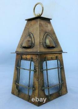 Antique Arts and Crafts Caged Brass Hall Lantern or Hanging Porch Light ca 1910