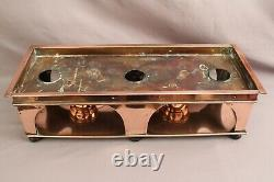 Antique Arts and Crafts Copper Food Warmer with 2 burners