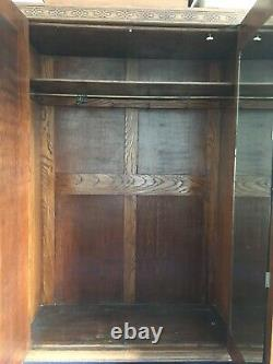 Antique Arts and Crafts Double Oak Wardrobe with Mirror