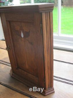Antique Arts and Crafts Golden Oak Corner Wall Cupboad Cabinet with Inlaid Door