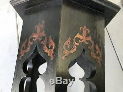 Antique Arts and Crafts Mission Ebonized Patterned Oak Plant Stand Tabouret