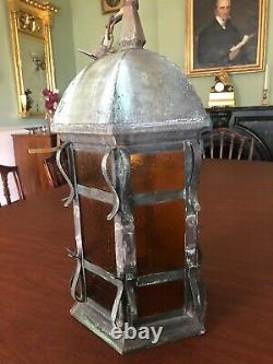 Antique Arts and Crafts, Mission Hanging Copper Light Fixture, Porch or entry