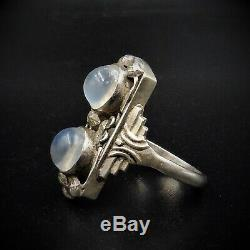 Antique Arts and Crafts Moonstone Statement Sterling Silver Ring Art Deco c. 1920