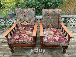 Antique Arts and Crafts Oak Recliners Pair